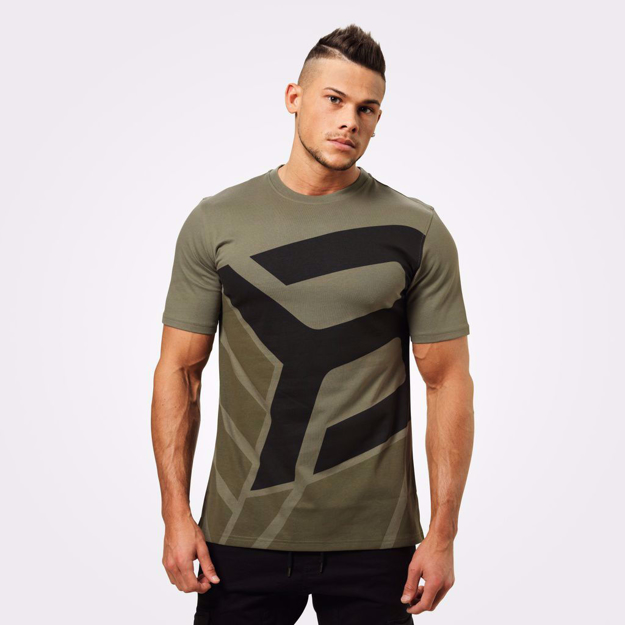 MGactivewear Model wear Men Sports T shirt Green Wash Bronx Front Profile