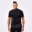 MGactivewear Ecommerce Model wearing Men Sports Casual T shirt wash black Brox Front Profile