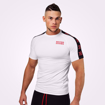 MGactivewear Ecommerce Product Shot of White Tribeca Men Sports Tee Front Profile