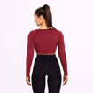 3 Bowery Cropped LS | Sangria Red
