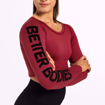 4 Bowery Cropped LS | Sangria Red