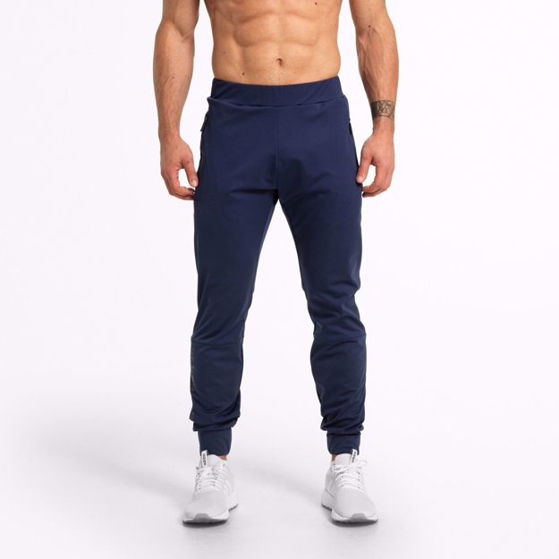 Men Fitness Wear by Better Bodies at MGactivewear Varick Track Pants Navy Blue Front