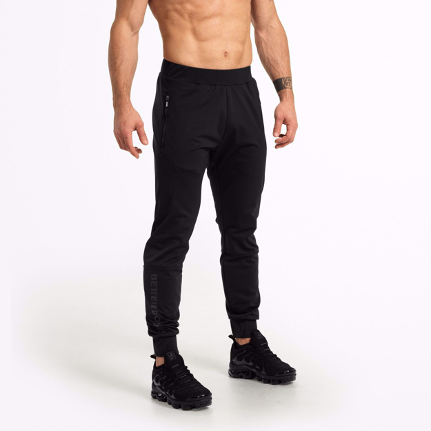 Men Workout Brand Better Bodies available in UAE at MGactivewear,Varick Track Pants Black Front