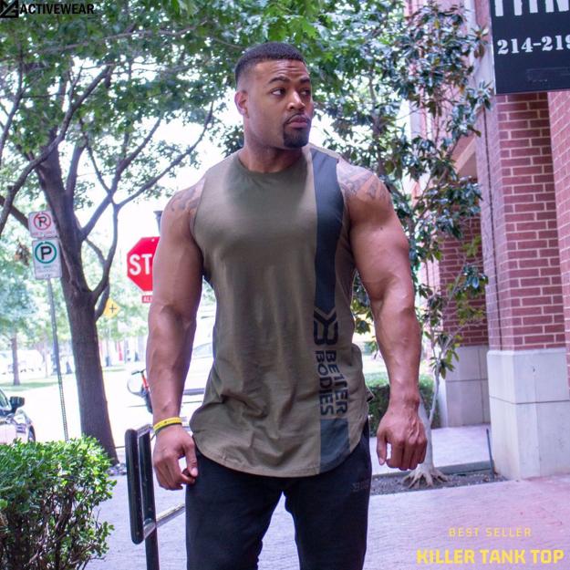 3 Stanton Gym Tank Top | Khaki Green