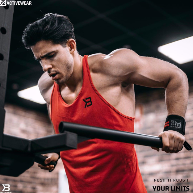 MGactivewear Athlete working out in Red Men Gym Tank Top