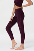MOTO MIDI LEGGING - AUBERGINE/FIG RIB Side