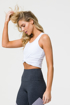 Women Workout Tie Knot Workout Top in White