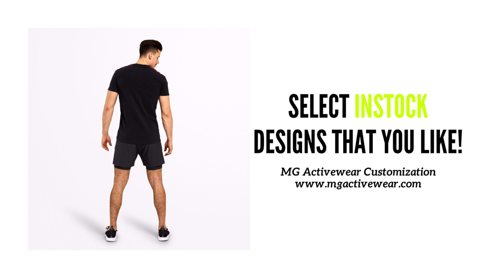 Select variety of ready designs on our website www.mgactivewear.com
