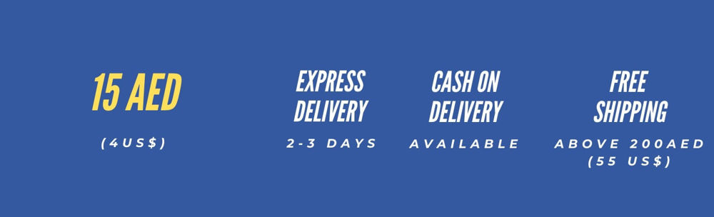 Rates for Domestic Shipping within UAE is AED 15 , with cash on delivery and free shipiing over 200 aed